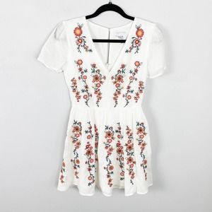 J.O.A. White Embroidered Fit and Flare Dress